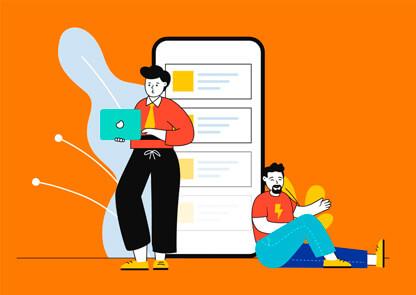 Ilustração de pessoas próximas a um celular