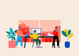 Ilustração de três pessoas em uma agência de marketing digital