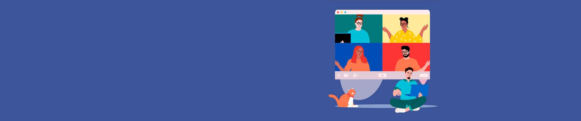 Ilustração de pessoas em uma tela de computador participando de uma reunião online