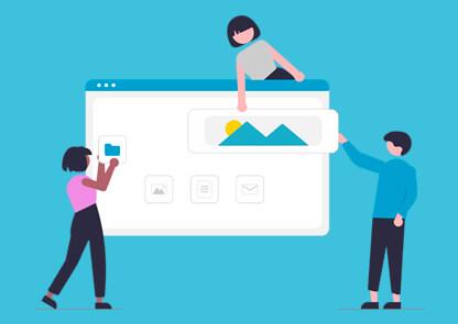 Ilustração de três pessoas montando o layout da tela de um computador
