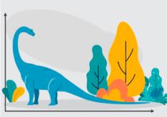 Ilustração de um dinossauro olhando sua cauda