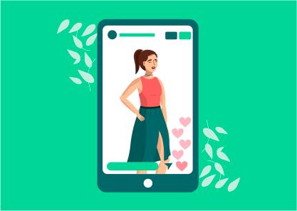 Ilustração de mulher na tela de um celular no instagram react para stories