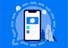 Ilustração de telefone celular sobreposto a um fundo azul claro.