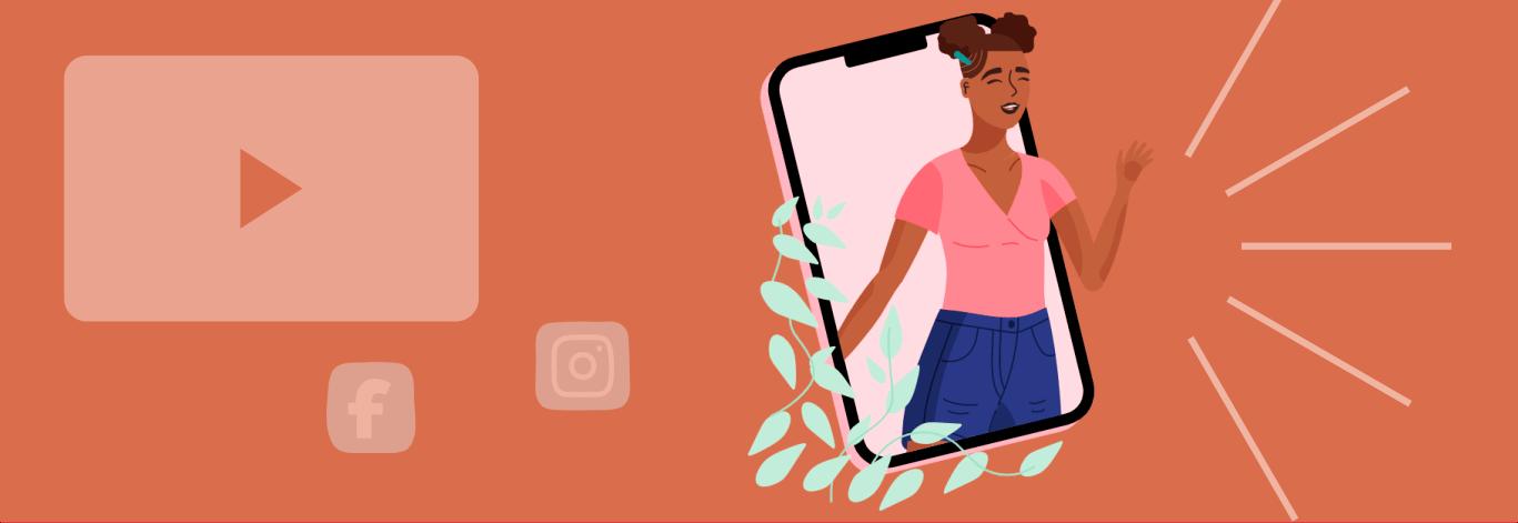 Mulher saindo de um celular gigante em uma live para empresa