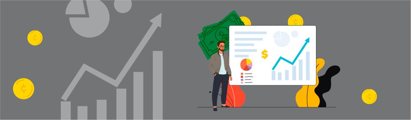 Homem próximo a um gráfico que mostra a diferença entre preço e valor