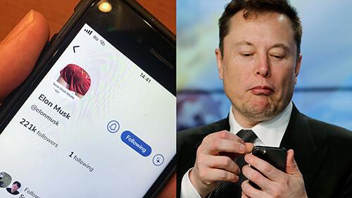 Elon Musk olhando para celular e tela de celular mostrando conta de Elon Musk no Clubhouse