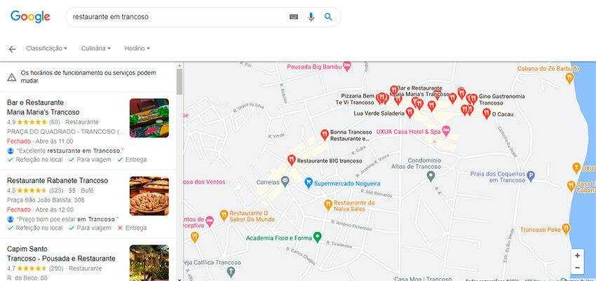 Captura de tela da página de resultados do Google com otimização de SEO