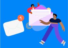 Pessoas próximas a um envelope que representa o e-mail marketing