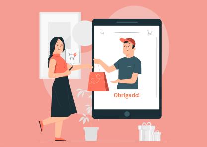 Mulher comprando pelo celular em uma rede social.