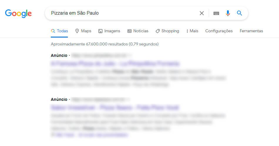 captura de tela de um anúncio online no Google